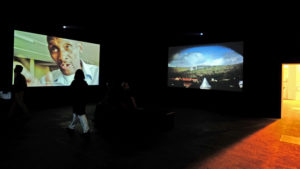 "Installation of the four-channel video view ""Moses and Griffiths"" by Mikhael Subotzky, Art Basel Unlimited, Goodman Gallery, June 2014. http://tweaklab.org/en/projekte/goodman-gallery-mikhael-subotzky/ (21.09.2016)"